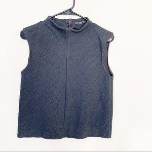 Zara Trafaluc Mock Neck Grey Solid Crop Top
